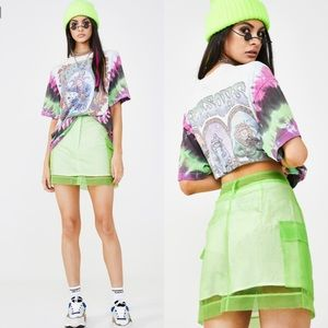 The Ragged Priest Scape Skirt in Neon Green